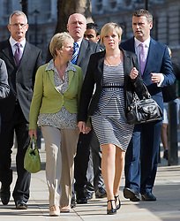 © licensed to London News Pictures. 11/07/2011. L to R Brian Paddick, Bob, Dowler, Sally Dowler, Gemma Dowler and Mark Lewis, Solicitor to the Dowler family, arrive at The Cabinet Office with members of the 'Hacked Off' group to meet Deputy Prime Minister Nick Clegg today (11/07/2011) to discuss the News Of The World phone hacking scandal . Photo credit should read Ben Cawthra/LNP