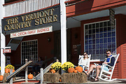Tourists at the traditional and quaint Vermont Country Store which sells food, souvenirs and gifts in Weston,Vermont, New England, USA