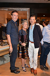 Left to right, JOSEPH VELOSA, JOAN BURSTEIN and MATTHEW WILLIAMSON at a party to celebrate the launch of Matthew Williamson: Fashion, Print and Colouring Book held at Anthropologie, 158 Regent Street, London on 8th September 2016.