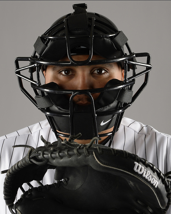 GLENDALE, ARIZONA - FEBRUARY 27:  Dioner Navarro #27 of the Chicago White Sox poses for a portrait during photo day on February 27, 2015 at Camelback Ranch in Glendale Arizona.  (Photo by Ron Vesely)    Subject:  Dioner Navarro