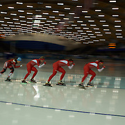 Winter Olympics, Vancouver, 2010.Canadian and Polish athletes training at the Speed Skating venue at Richmond Oval in preparation for the Long Track Speed Skating event at the Winter Olympics. 8th February 2010. Photo Tim Clayton