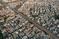 Aerial view of buildings and empty streets due to coronavirus pandemic in Delhi, India
