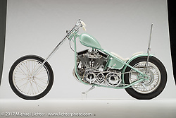 """Paradise"", a seafoam green panhead chopper built by Jake and Zach Hindes of Prism Supply in Charlotte, NC. Photographed by Michael Lichter in Sturgis, SD on August 7, 2017. ©2017 Michael Lichter."