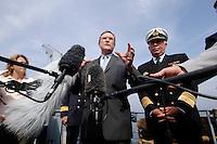 24 AUG 2006, OSTSEE/GERMANY:<br /> Franz Josef Jung (M), CDU, Bundesverteidigungsminister, und Vizeadmiral Wolfgang E. Nolting (R), Inspekteur der Marine, waehrend einem Pressestatement auf einer Fahrt auf der Ostsee von Kiel nach Flensburg, auf dem Mienenjagdboot M 1065 DILLINGEN, FRANKENTHAL-Klasse (Typ 322), im Rahmen seiner Sommerreise zu Standorten der Bundeswehr<br /> IMAGE: 20060824-01-081<br /> KEYWORDS: Marine, Bundeswehr, Schiff, Mikrofon, microphone