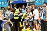 Wycombe Wanderers Adebayo Akinfenwa(20) before the EFL Sky Bet League 2 match between Wycombe Wanderers and Stevenage at Adams Park, High Wycombe, England on 5 May 2018. Picture by Alistair Wilson.