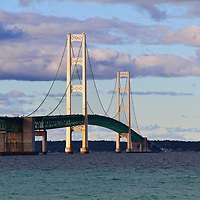 """""""Along Mackinac Bridge""""<br /> <br /> A closer view of the beautiful Mackinac Bridge on a partly cloudy late afternoon. A gorgeous suspension bridge linking the lower part of Michigan to Michigan's Upper Peninsula!!<br /> <br /> Mackinac Bridge by Rachel Cohen"""