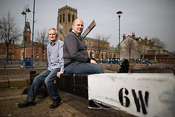 © Licensed to London News Pictures . 18/04/2019. Tameside , UK . LEE STAFFORD (47) and DAVID MCGOVERN (51) of the Stalybridge Town Party , by the canal in Stalybridge . Independent political parties , not tied to existing national parties , are competing for council seats in wards across the North West . Photo credit : Joel Goodman/LNP