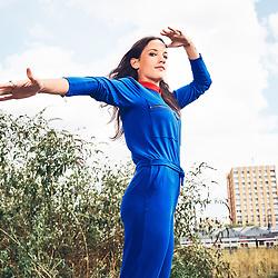 Jain, French Singer, posing at L'Aerosol, a museum and openwall place dedicated to street art. Paris, France. August 24, 2018.<br /> Jain, chanteuse francaise, pose a L'Aerosol, un musee du street art avec des murs ouvert a l'expression libre du tag. Paris, France. 24 aout 2018.