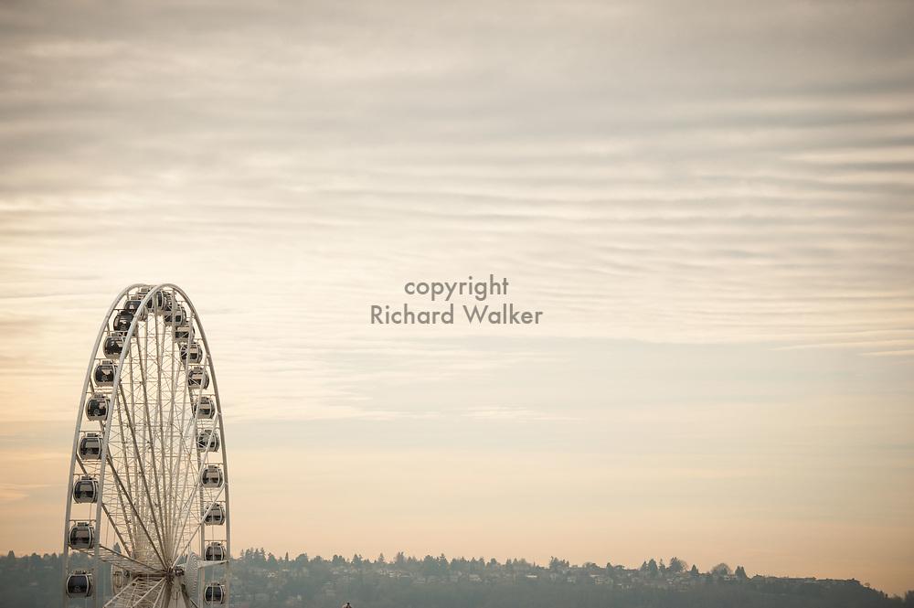 2017 DECEMBER 12 -  Seattle Great Wheel. In the background is West Seattle. By Richard Walker