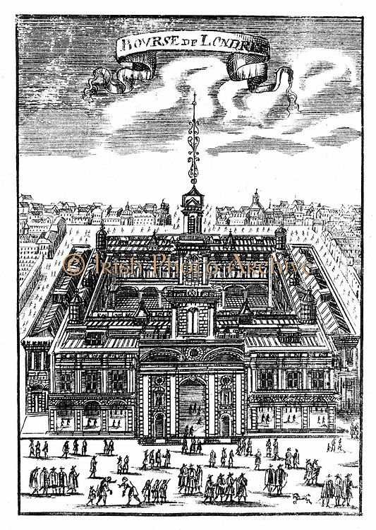 The Royal Exchange, London. This is the second building which replaced the first which was destroyed in the Fire of London, 1666. Copperplate engraving, 1686