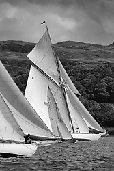 """Viola to windward at the start of the final race, with Sunshine tacking across and Moonbeam to Leeward.<br /> Limited to ten prints in Black & White, printed on fine art paper 24""""x16"""", stamped and signed."""