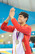 China's Sun Yang acknowledges the crowd after winning a silver medal in the Man's 200 m freestyle the London 2012 Summer Olympics on July 30, 2012 in Stratford, London.  (UPI_