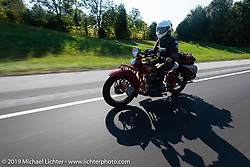 Cross Country Chase motorcycle endurance run from Sault Sainte Marie, MI to Key West, FL (for vintage bikes from 1930-1948). Stage 4 saw a 315 mile ride from Urbana, IL to Bowling Green, KY USA. Monday, September 9, 2019. Photography ©2019 Michael Lichter.