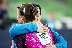 Sasa Golob of Slovenia with her coach Lyudmila Korolenko after she competes in the Floor Exercise during Qualifications of Artistic Gymnastics World Challenge Cup Ljubljana, on April 3, 2015 in Arena Stozice, Ljubljana, Slovenia. Photo by Vid Ponikvar / Sportida
