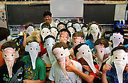 Ann Brooks, 2nd grade class shows off their anteater masks that they made earlier in the day. Picture taken at Abraham Lincoln elementary school.