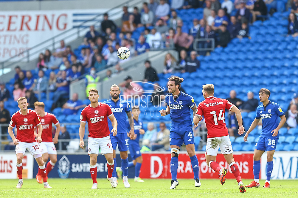 Cardiff City defender Sean Morrison (4) in action during the EFL Sky Bet Championship match between Cardiff City and Bristol City at the Cardiff City Stadium, Cardiff, Wales on 28 August 2021.