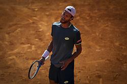 May 4, 2018 - Lisbon, Portugal - Joao Sousa reacts during the Millennium Estoril Open tennis tournament in Estoril, outskirts of Lisbon, Portugal on May 4, 2018  (Credit Image: © Carlos Costa/NurPhoto via ZUMA Press)
