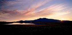 Sólsetur og Snæfellsjökull í fjarska / Sunset and the glacier, Snaefellsjokull in distance