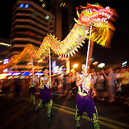 Paraders carry a dragon in the 2011 Keelung Ghost Festival.