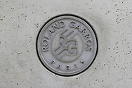 Roland Garros logotype cast in concrete during the Roland Garros 2020, Grand Slam tennis tournament, on October 5, 2020 at Roland Garros stadium in Paris, France - Photo Stephane Allaman / ProSportsImages / DPPI