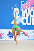 Coelho Carolina during qualifying at ball in Pesaro at World Cup at Adriatic Arena on April 26, 2013. Carolina is a Portuguese individual rhythmic gymnast was born on February 11, 1996 in Coimbra.