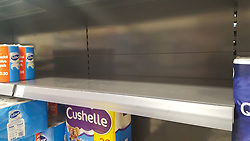 © Licensed to London News Pictures. 06/03/2020. London, UK. A Food Warehouse by Iceland store in London runs out of Kitchen Towel amid an increased number of cases of Coronavirus (COVID-19) in the UK. <br /> On Thursday 5 March a woman in her 70s with underlying health condition become the first person in the UK to die from coronavirus. 116 cases in the UK have tested positive of the virus. Photo credit: Dinendra Haria/LNP