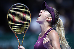 October 27, 2018 - Singapore - ELINA SVITOLINA of the Ukraine celebrates a win in the women's singles semifinal on day 7 of the WTA Finals, at Singapore Indoor Stadium. (Credit Image: © Paul Miller/ZUMA Wire)