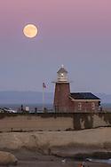 Lighthouse in front of a super moon, Santa Cruz, California