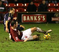 Photo: Mark Stephenson.<br />Walsall v Bristol Rovers. Coca Cola League 2. 30/12/2006<br />Rover's Rickie Lambert (L) tackles Walsall's Daniel Fox.