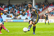 Jermaine Anderson of Bradford City (18) passes the ball during the EFL Sky Bet League 1 match between Scunthorpe United and Bradford City at Glanford Park, Scunthorpe, England on 27 April 2019.