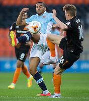 Blackpool's Colin Daniel battles for possession with Barnet's Harry Taylor<br /> <br /> Photographer Craig Mercer/CameraSport<br /> <br /> Football - The EFL Sky Bet League Two - Barnet v Blackpool - Tuesday 16th August 2016 - The Hive Stadium - London<br /> <br /> World Copyright © 2016 CameraSport. All rights reserved. 43 Linden Ave. Countesthorpe. Leicester. England. LE8 5PG - Tel: +44 (0) 116 277 4147 - admin@camerasport.com - www.camerasport.com