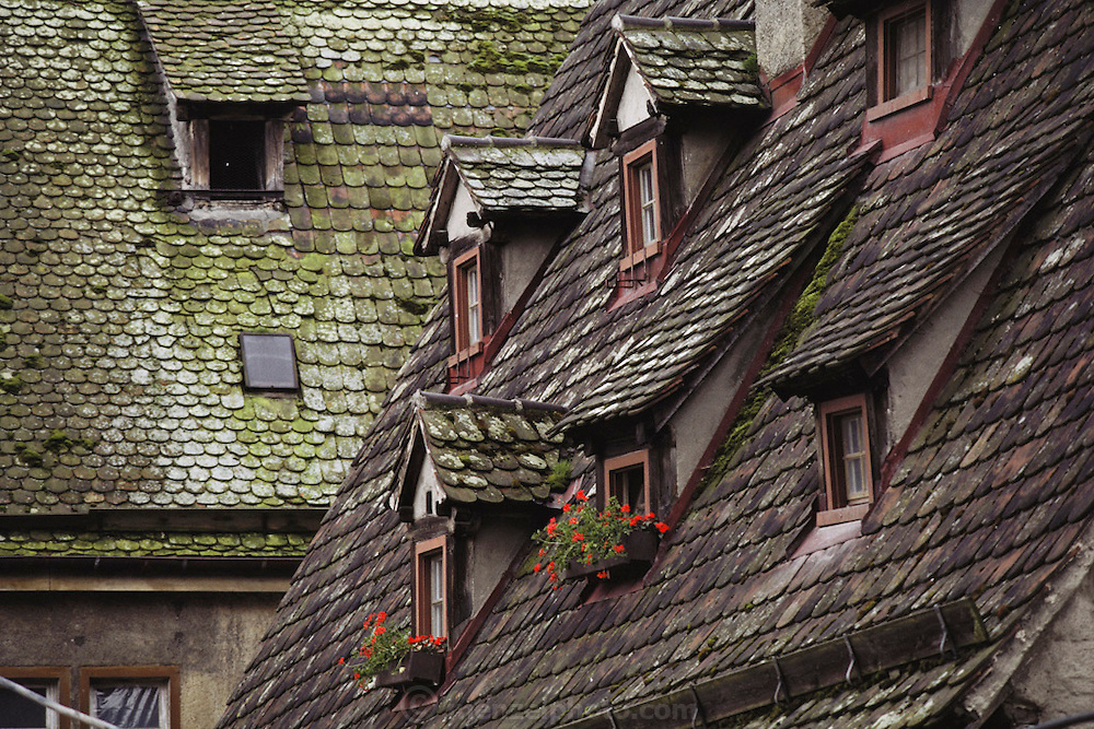Scalloped roofs in the center of the old town in Ulm, West Germany.