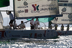 Mathieu Richard leads Manual Weiller during day 2 of Portimao Portugal Match Cup 2010. World Match Racing Tour. Portimao, Portugal. 24 June 2010. Photo: Gareth Cooke/Subzero Images