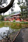 Byodo-In Buddhist temple in the Valley of the Temples, Oahu, Hawaii. The temple is a replica of the 900-year-old Byodo-In temple in Uji, Japan. Oahu, Hawaii