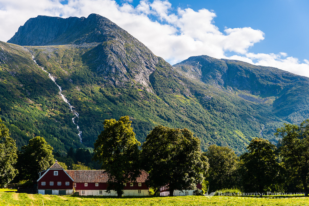 Norway, Rosendal. Waterfall from the Barony Rosendal manor.