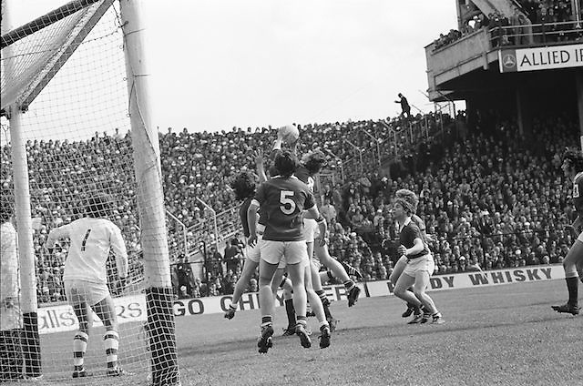 Players from both teams jump to grab the ball in the goalmouth during the All Ireland Senior Gaelic Football Championship Final Dublin V Galway at Croke Park on the 22nd September 1974. Dublin 0-14 Galway 1-06.
