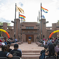 Navajo Nation Speaker Seth Damon gives the welcome address Friday, June 28 for the Queer Showcase in front of the Navajo Nation Council Chambers as part of DinéPride 2019 in Window Rock.