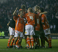 Photo: Steve Bond.<br />Derby County v Blackpool. Carling Cup. 28/08/2007. Blackpool celebrate