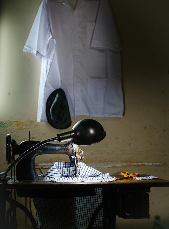 CAMAGUEY, CUBA - CIRCA JANUARY 2020: Tailor shop inside a home in Camaguey