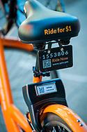 2018 FEBRUARY 12 - A Spin Bike parked on a sidewalk in downtown Seattle, WA, USA. By Richard Walker