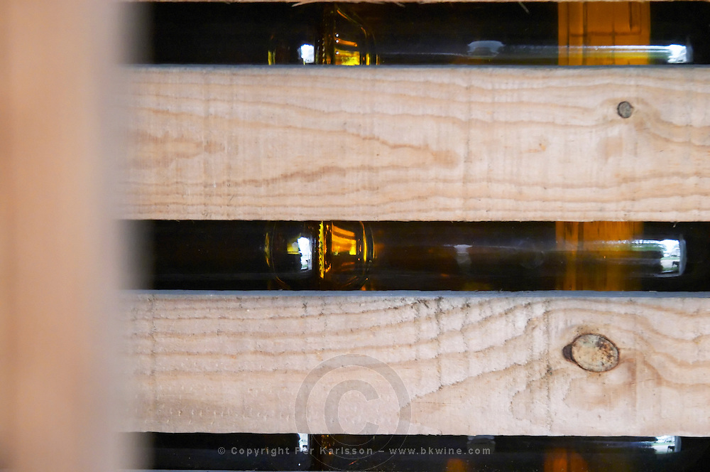 Sauternes wine bottles in a wooden crate. Chateau de Cerons (Cérons) Sauternes Gironde Aquitaine France