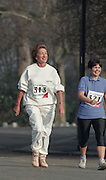 """Battersea. London. GREAT BRITAIN; No. 313. Dame Shirley PORTER, competing in the  Westminster Sport Event, London Race Walking Championships. Battersea Park. 02.08.1991.<br /> <br /> [Mandatory Credit; """"Photo, Peter Spurrier/Intersport-images]"""