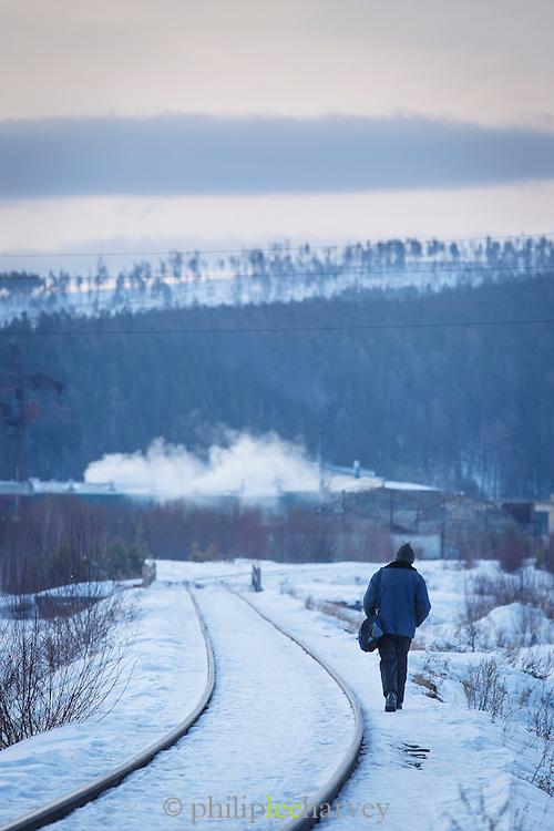 Railroad track between Irkutsk and Port Baykal, Siberia, Russia
