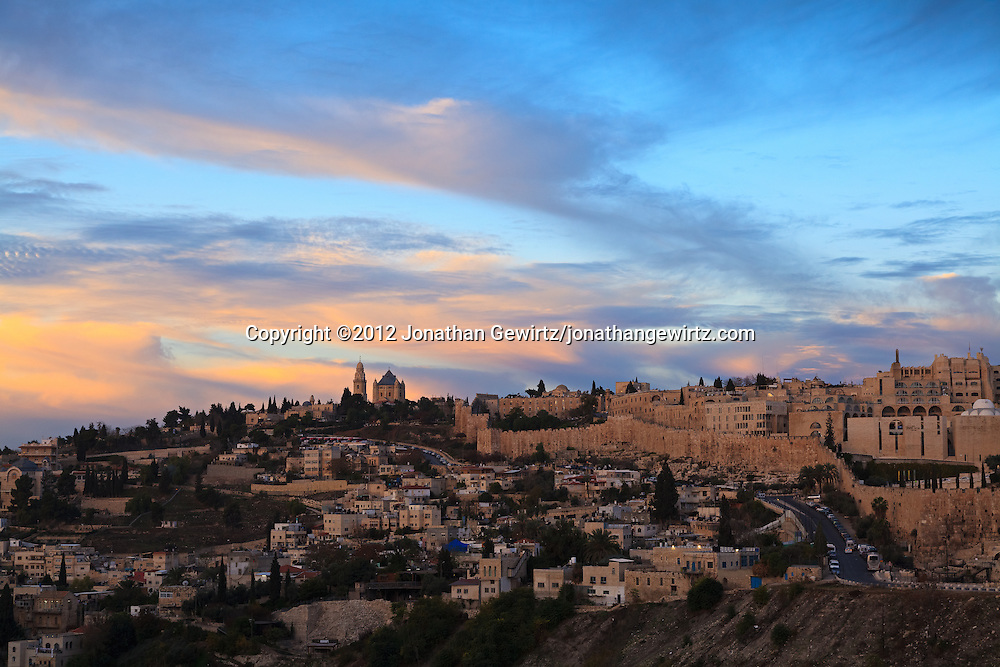 The Dormition Abbey, Mount Zion and part of the Old City's Jewish Quarter are visible in this early-morning view of the Jerusalem skyline. WATERMARKS WILL NOT APPEAR ON PRINTS OR LICENSED IMAGES.