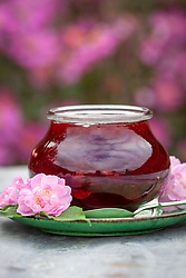 Jar of petalberry strawberry jam made with rosewater and scented rose petals