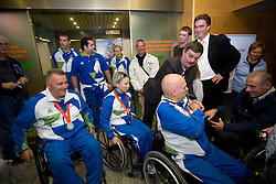 Joze Flere with silver, Mateja Pintar with bronze and  Franc Pinter with bronze paraolympic medal at welcome ceremony at Airport Joze Pucnik, on September 20, 2008, in Brnik, Slovenia. (Photo by Vid Ponikvar / Sportal Images)./ Sportida)