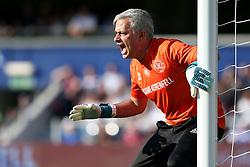 2 September 2017 - Charity Football - Game 4 Grenfell - Team Shearer goalkeeper Jose Mourinho shouts to his team mates - Photo: Charlotte Wilson