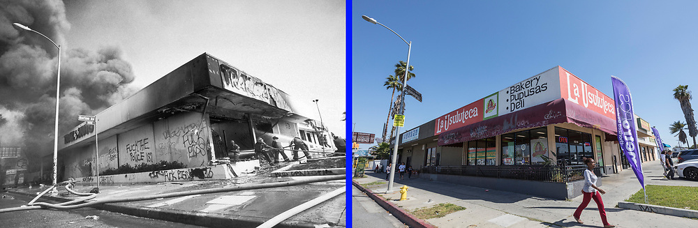 Before and after photos of W.Washington Blvd. at Norton Ave.<br /> <br /> 25 before and after LA92 photo project.