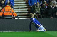 Everton  celebrate Everton forward Gerard Deulofeu goal  during the Capital One Cup match between Middlesbrough and Everton at the Riverside Stadium, Middlesbrough, England on 1 December 2015. Photo by Simon Davies.