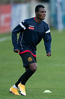Football - 2020 / 2021 FA Trophy - Round Two - Marine vs Hyde United - Rossett Park<br /> <br /> <br /> Marine FC's Mo Touray during the pre-match warm-up <br /> <br /> <br /> COLORSPORT/TERRY DONNELLY